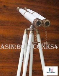 NauticalMart Floor Standing Harbor Master Telescope White Leather