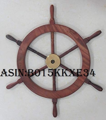 Nautical Deluxe Class Wood and Brass Decorative Ship Wheel 15