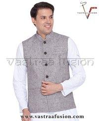 Men Khadi Look Ethnic Wear Modi Jacket- Light Grey