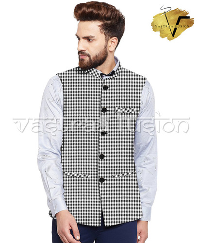 Men Checkes Casual Wear Galabandh Jacket