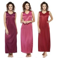 Women Satin Plain Long Nighty Night Gown Night Dress Nightwear