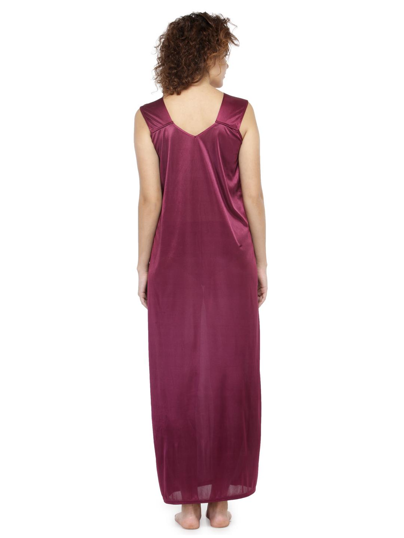Women Satin Plain Long Nighty Night Gown Night Dress Nightwear