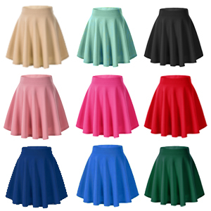 Women's Polyester Spandex Lycra High Waist Flared Knit Skater Short Mini Skirt