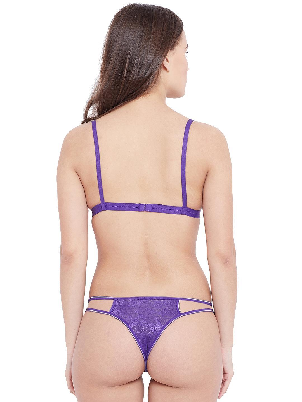 Non Padded Wirefree Designer Lace Bra & Tanga Style Panty Set