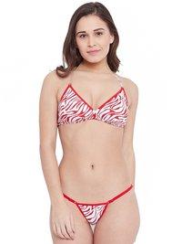 Non Padded Wire free Designer Lace Bra & Tanga Style Panty Set
