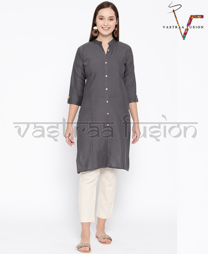 Cotton Button Pattern Ladies Kurti
