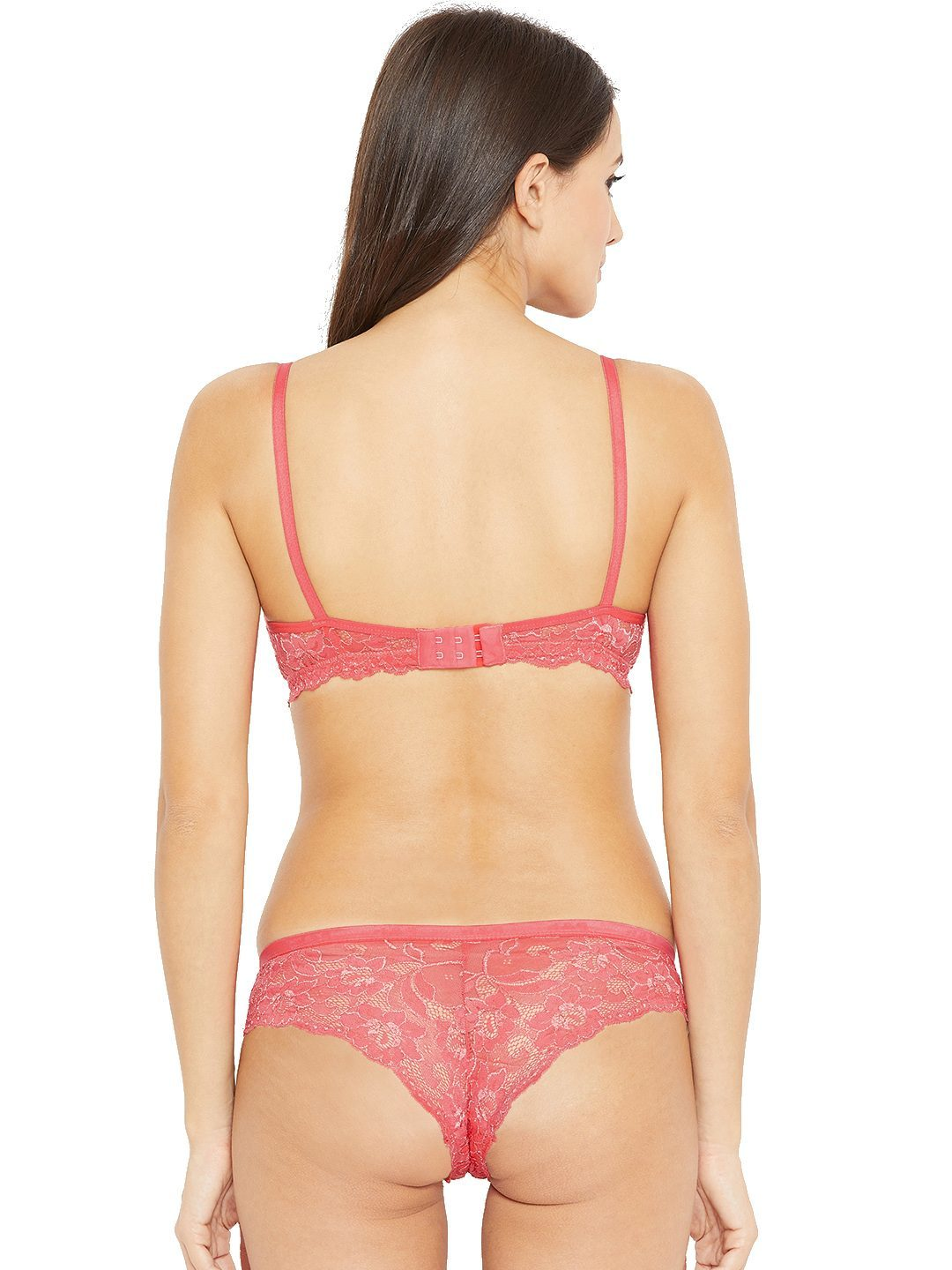 Non Padded Wire free Lace Design Bra & Hipster Panty Lingerie Set