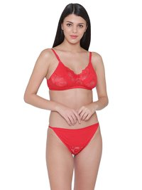 Non Padded Wire free Lace Bra & Tanga Panty Lingerie Set