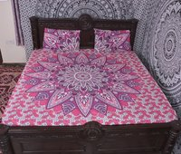 Indian Mandala Pink Flower Cotton Duvet Cover