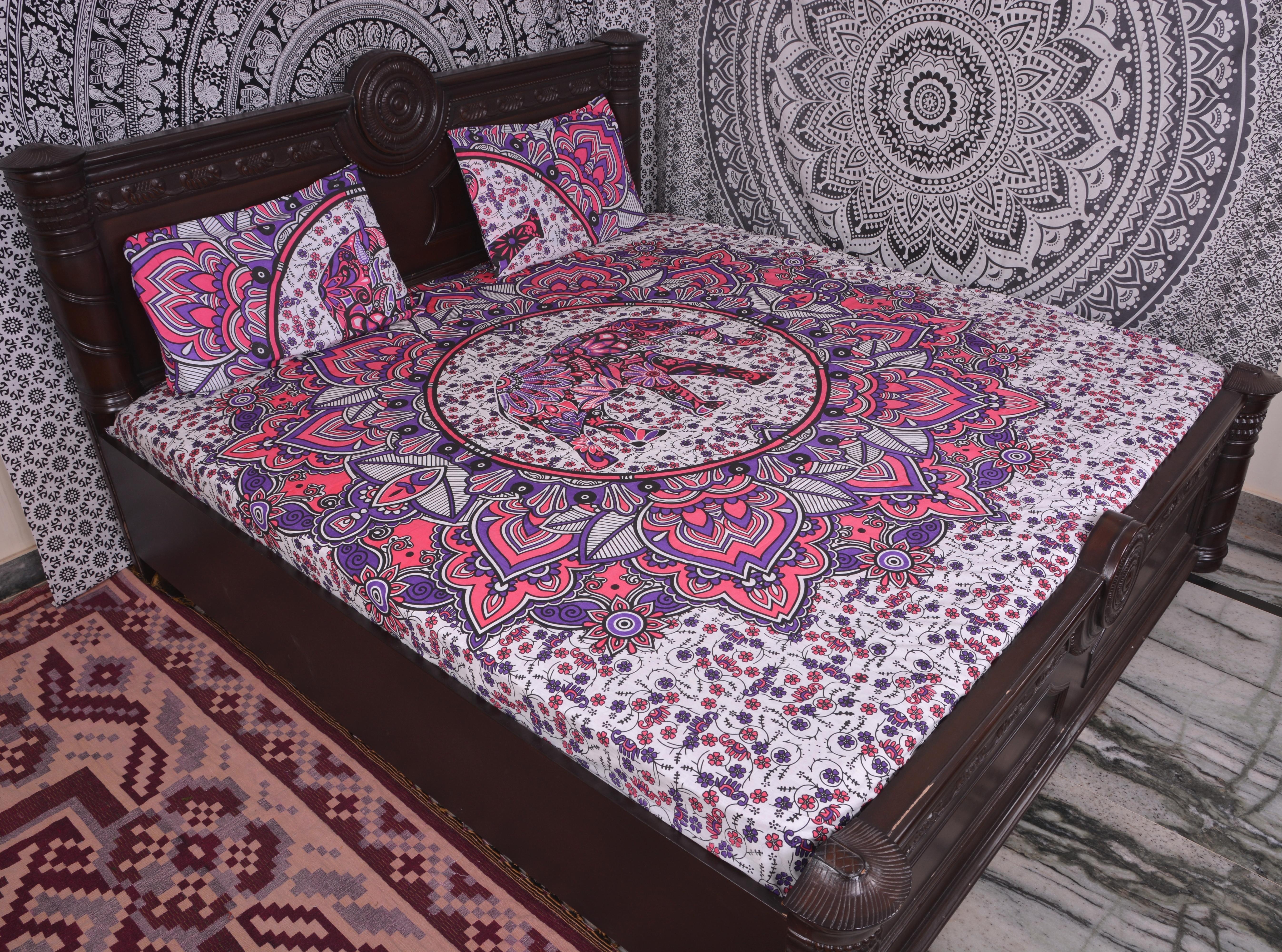 Indian Mandala Elephant Cotton Duvet Cover