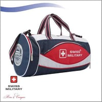 Swiss Military Multi-Utility Cylindrical Sports Bag With Shoe Pocket in Bottom 39L Blue White Red (OC2)