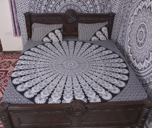 Indian Mandala Slate Round Cotton Duvet Cover