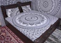 Indian Mandala Slate Round Cotton Duvet Cover