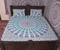 Indian Mandala Round Green Cotton Duvet Cover