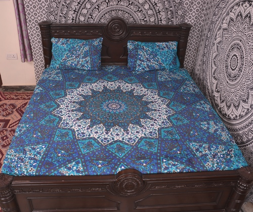Indian Mandala Sky Blue Cotton Duvet Cover
