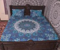 Indian Mandala Sky Blue Cotton Duvet Cover