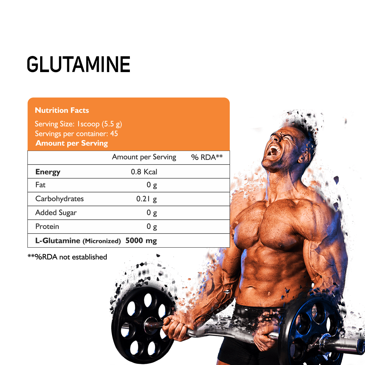 NUTRICORE PERFORMANCE GLUTAMINE 100% MICRONIZED (Tangy Orange Flavour)
