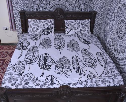 Indian Mandala Cotton White Leaves Duvet Cover