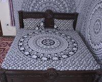Indian Mandala Cotton Black Round Elephant Duvet Cover