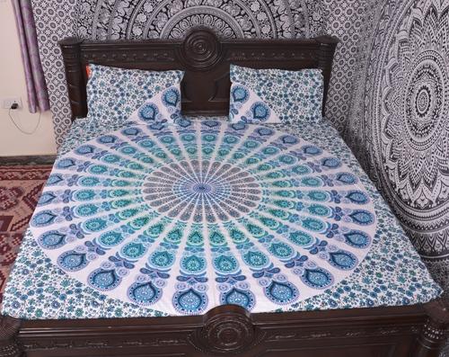 Indian Mandala Cotton blue bold round Duvet Cover