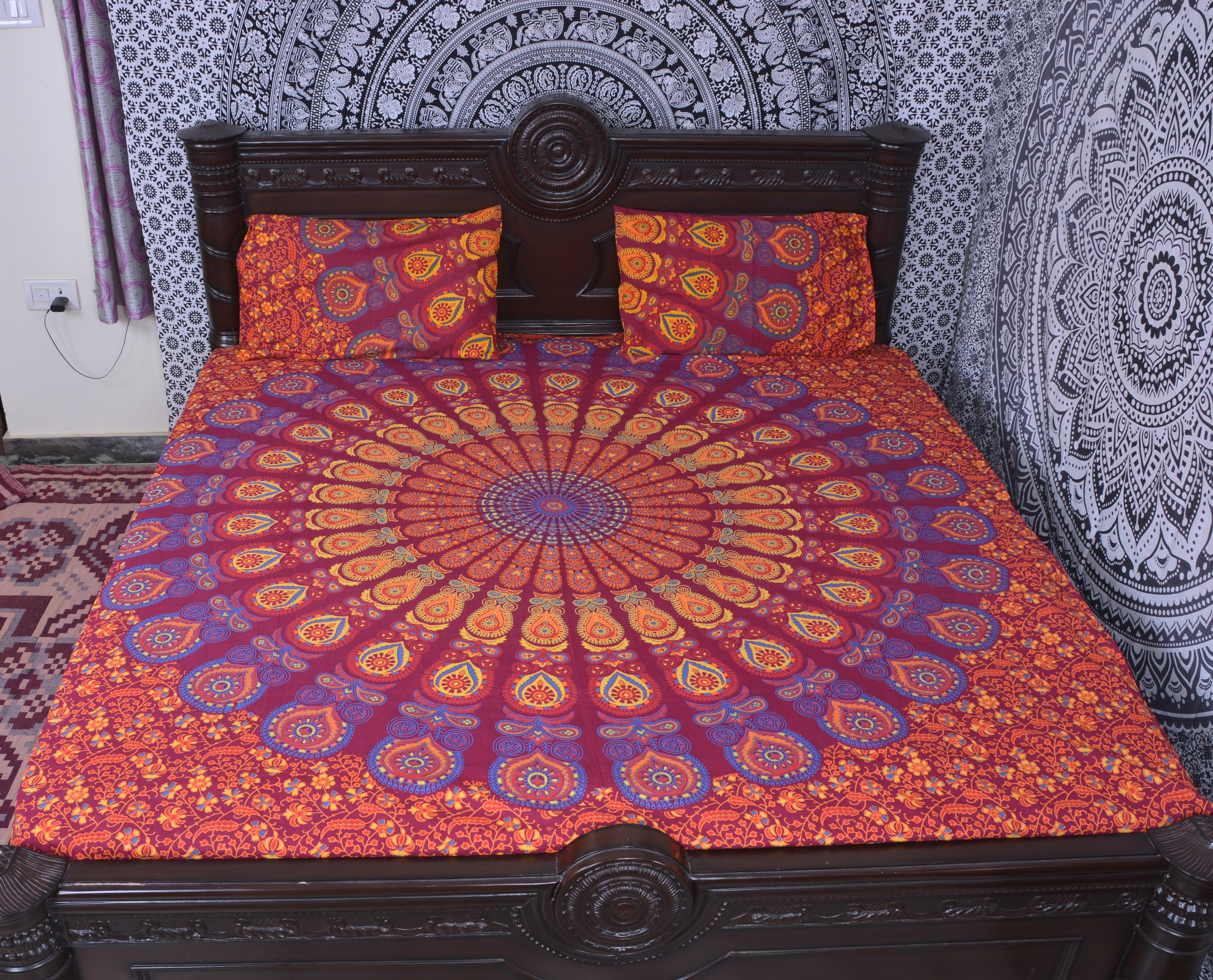 Indian Mandala Cotton Orange Bold Duvet Cover