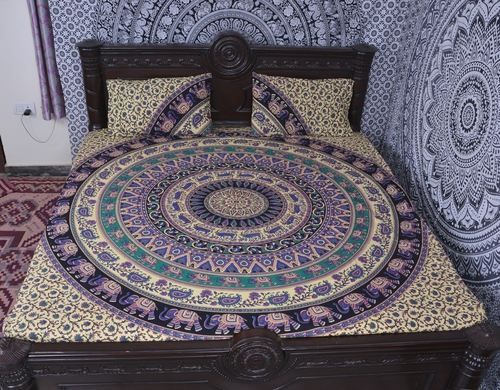 Indian Mandala Cotton Blue Elephant Duvet Cover