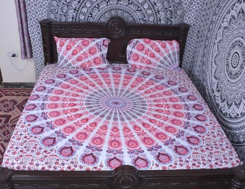 Indian Mandala Pink Round Cotton Duvet Cover