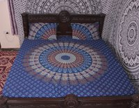 Indian Mandala Blue Round Cotton Duvet Cover