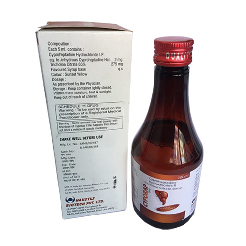 200ml Cyproheptadine Hydrochloride And Tricholine Citrate Syrup