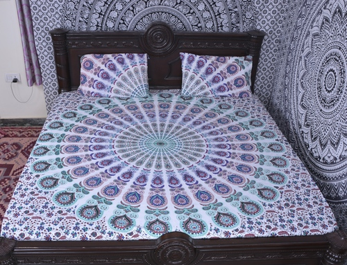 Indian Mandala Light Blue Round Cotton Duvet Cover