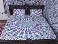 Indian Mandala Light Blue Round Cotton Duvet Cover