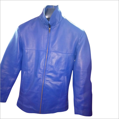 Mens Leather Blue Jacket