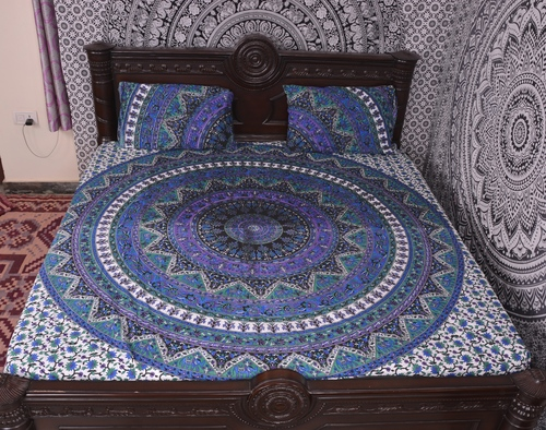 Indian Mandala Elephant Round Blue Cotton Duvet Cover