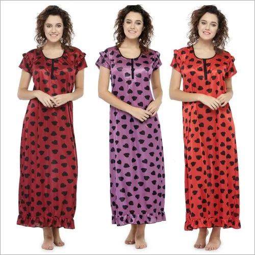 Women Satin Printed Long Nighty Night Gown Night Dress Nightwear