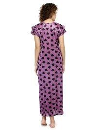 Women Satin Printed Long Nighty Night Gown Night Dress Nightwear