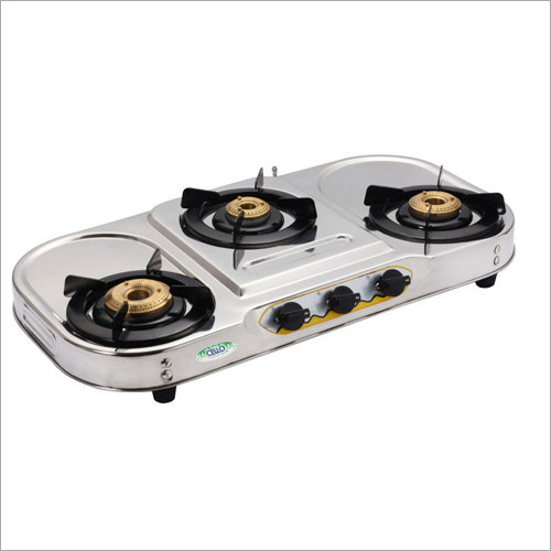 SS Oval Shape Body 3 Burner Gas Stove