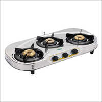 SS Oval Shape 3 Burner Gas Stove