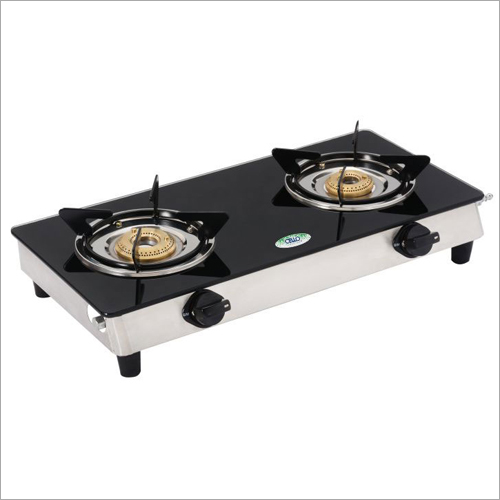 SS Frame Heat Resistant Toghened Glass Top Gas Stove