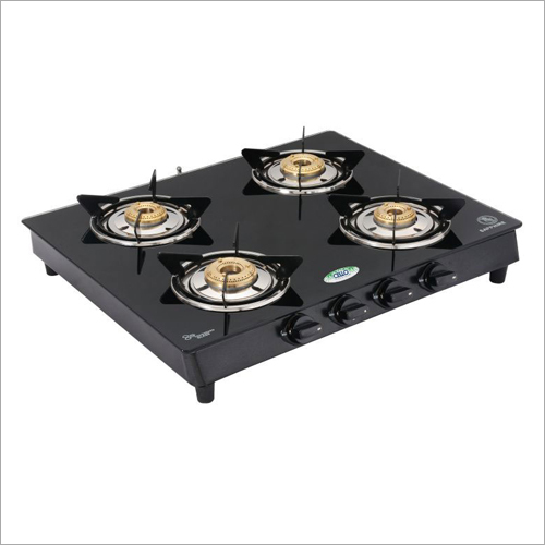 MS Powder Coated Frame Toughened Glass Top Gas Stove