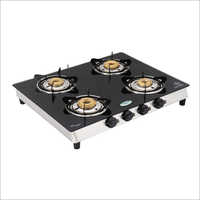 SS Frame Toughened Glass Top 4 Burner Gas Stove