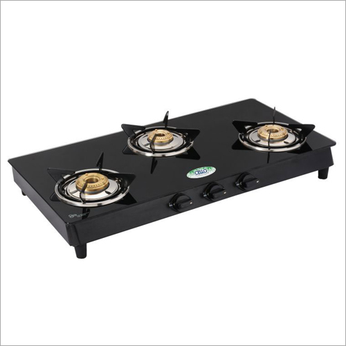 MS Powder Coated Frame Toughened Glass Top 3 Gas Burner Stove