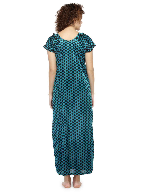 Women Satin Polka Dot Print Long Nighty Night Gown Night Dress Nightwear