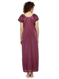 Women Satin Polka Dot Print Long Nighty Night Gown Night Dress Nightwear
