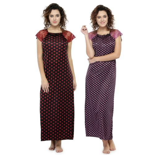 Women Satin Short Sleeves Printed Long Nighty Night Gown Night Dress Nightwear