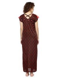 Women Satin Short Sleeves Printed Long Nighty Night Gown Night Dress Nightwear