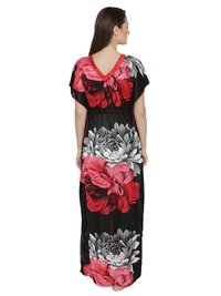 Women Satin Printed Kaftan Style Long Nighty Night Gown Night Dress Nightwear