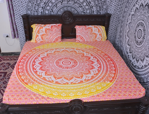 Indian Mandala Red Circle Cotton Duvet Cover