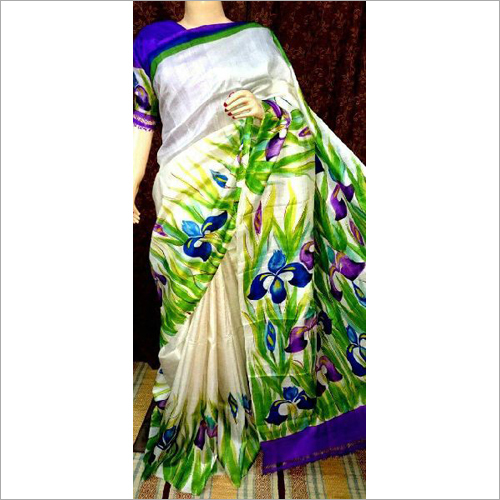 Stylish Murshidabad Silk Hand Painted Saree