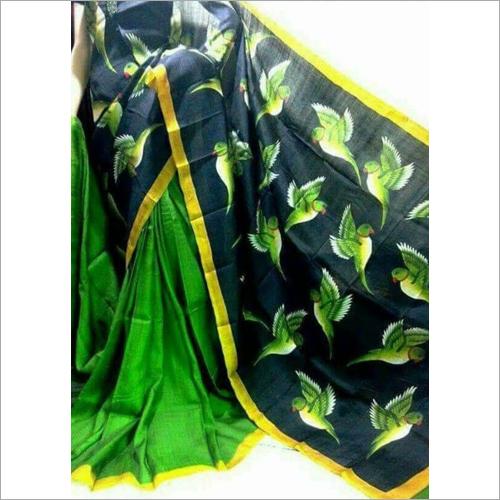 Designer Bishnupuri Silk Block Hand Printed Saree