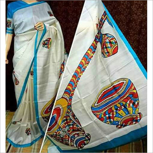 Murshidabad Silk Hand Painted Saree